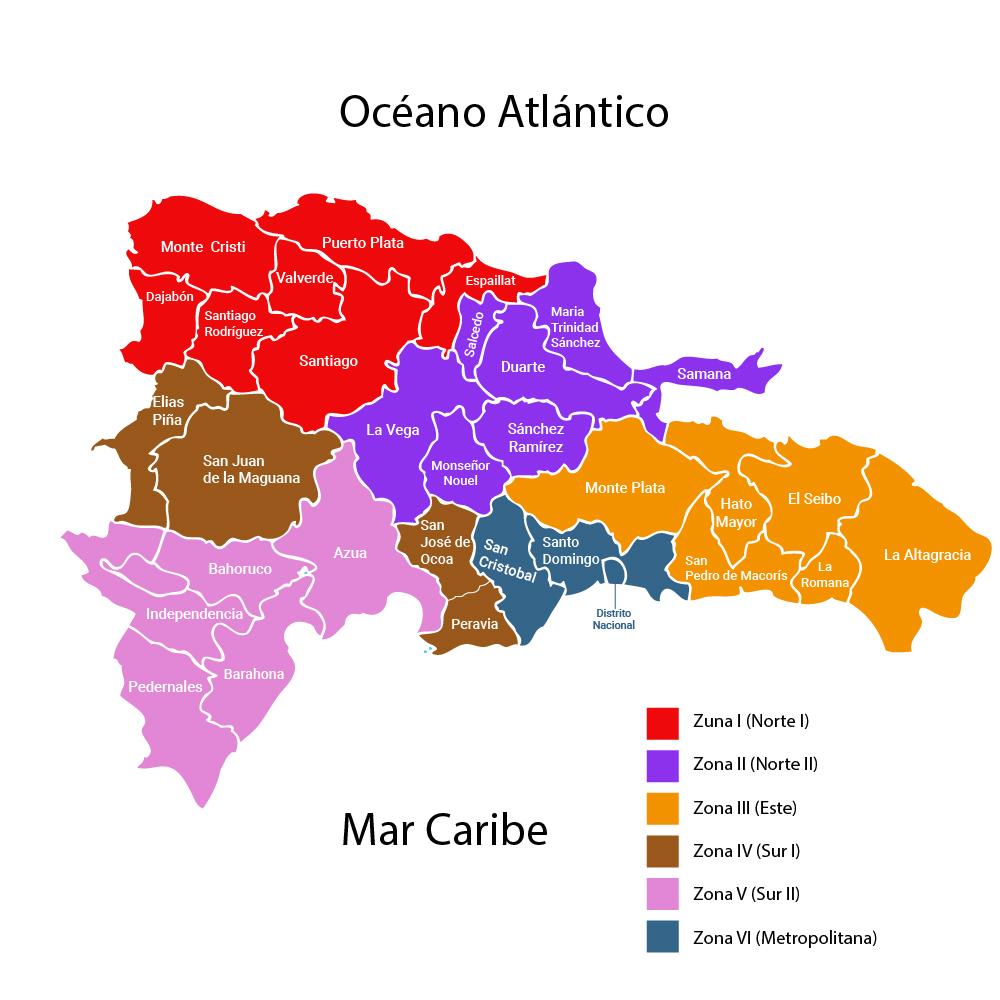Distribución del Judo Dominicano por Zonas